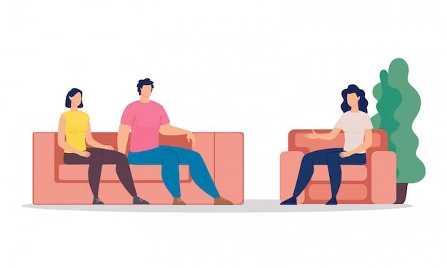 Familie psychologische therapie plat Premium Vector