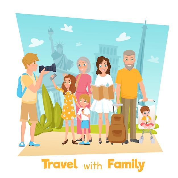 Familie reizen illustratie Gratis Vector