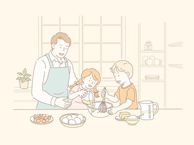 Familie samen bakken in de keuken in lijnstijl illustratie Premium Vector