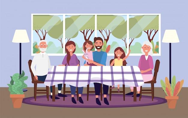 Familie samen in de tabel met planten en lamp Gratis Vector