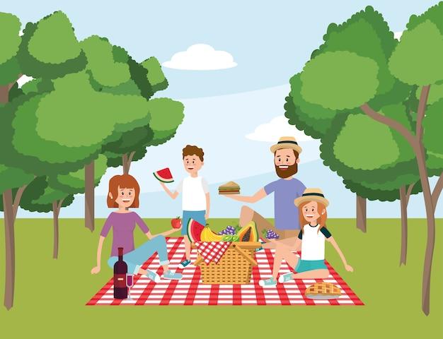 Familie samen met mandpicknick en bomen Premium Vector