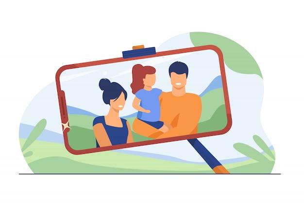 Familie selfie foto op telefoonscherm Gratis Vector