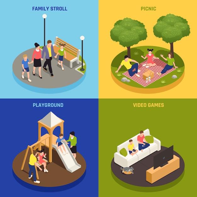 Familie spelen concept pictogrammen instellen met picknick en videospelletjes symbolen isometrische geïsoleerd Gratis Vector