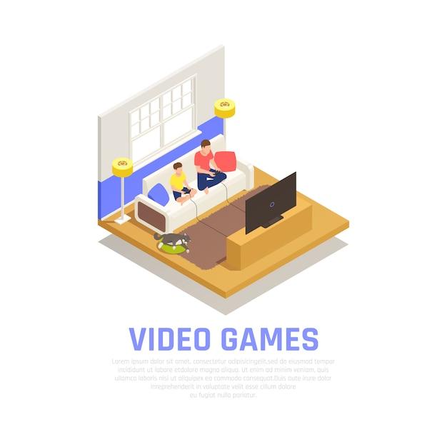 Familie spelen samenstelling met isometrische videospelletjes symbolen Gratis Vector