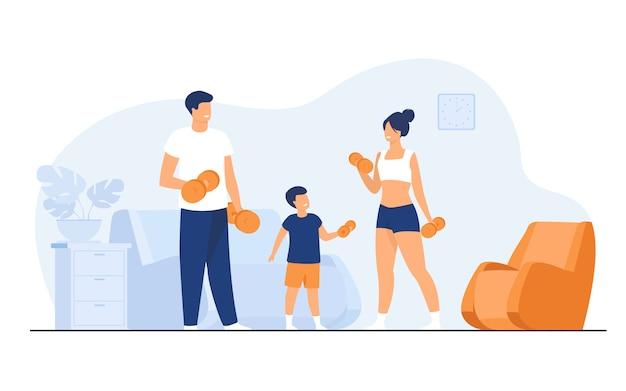 Familie sport activiteit concept Gratis Vector