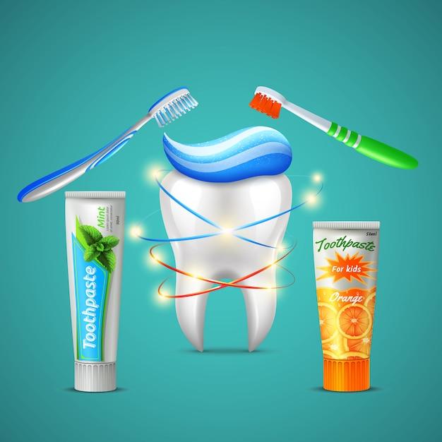 Familie tandheelkundige zorg realistische samenstelling met glanzende tand tandenborstels menthol en sinaasappel smaak tandpastabuizen Gratis Vector