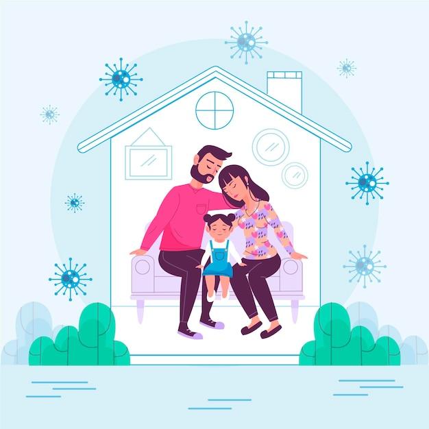 Familie thuis beschermd tegen het virus Gratis Vector
