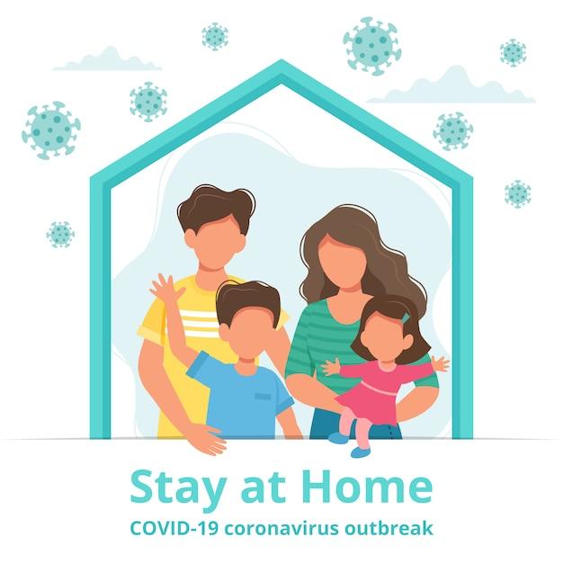 Familie thuis blijven in zelfquarantaine, bescherming tegen virussen Premium Vector
