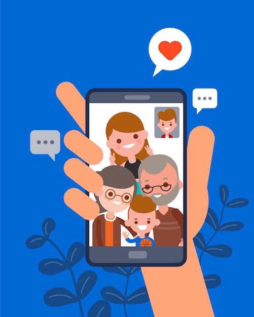 Familie tijd samen illustratie. man chatten met zijn familie met behulp van video-oproep app op smartphone. menselijke hand houden smartphone-apparaat. platte ontwerp stripfiguren. Premium Vector