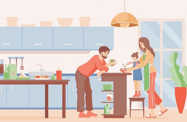 Familie tijd vlakke afbeelding. moeder, vader en dochter die pannenkoeken koken voor het ontbijt in de keuken. Premium Vector