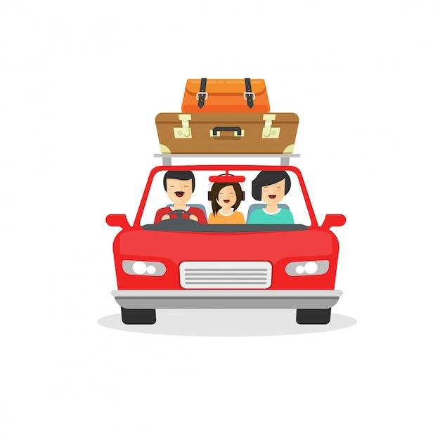 Familie-uitstapje of tour met de auto met gelukkige mensen rijden Premium Vector