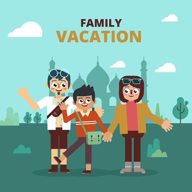 Familie vakantie bezoek aziatische bezienswaardigheid Premium Vector