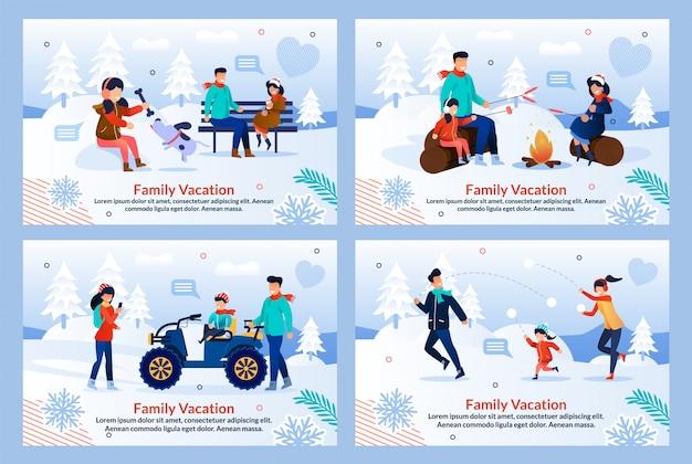 Familie vakantie op winter vakantie platte sjabloon set Premium Vector
