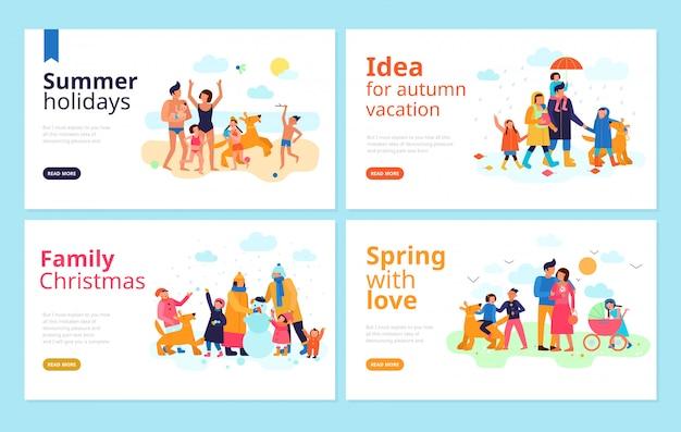 Familie vakantie seizoen vakantie vrije tijd samen doorbrengen ideeën platte banners webpagina Gratis Vector
