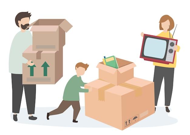 Een Nieuw Huis : Familie verhuist naar een nieuw huis vector gratis download