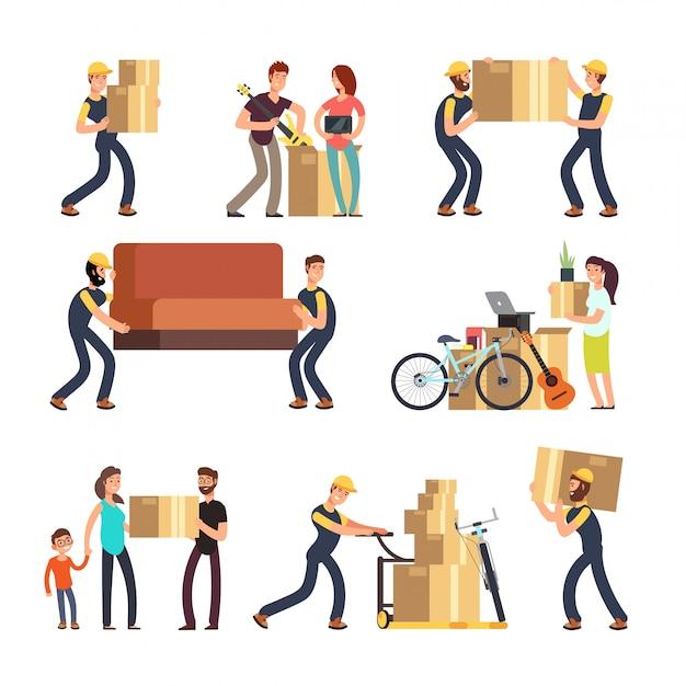 Familie verhuizen naar een nieuw huis. man, vrouw en werknemers die dozen en zware meubels vector tekenset dragen Premium Vector