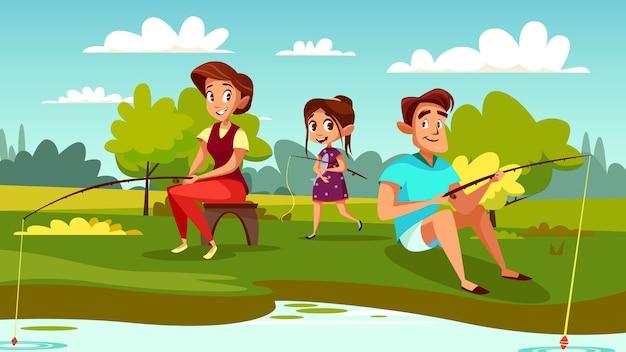 Familie visserijillustratie van moeder, vader en dochter op weekendvakantie. Gratis Vector