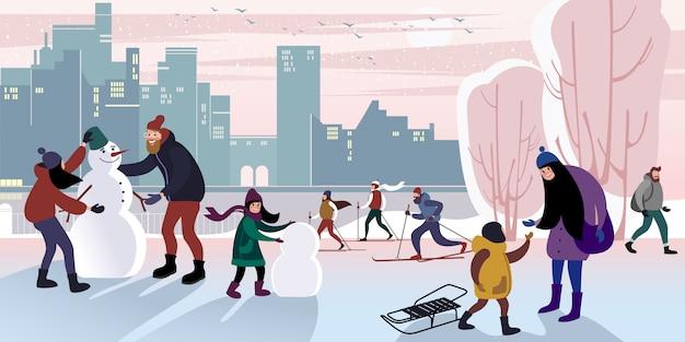 Familie wandeling in een winter stadspark om een sneeuwpop met papa te maken. platte vectorillustratie. Premium Vector