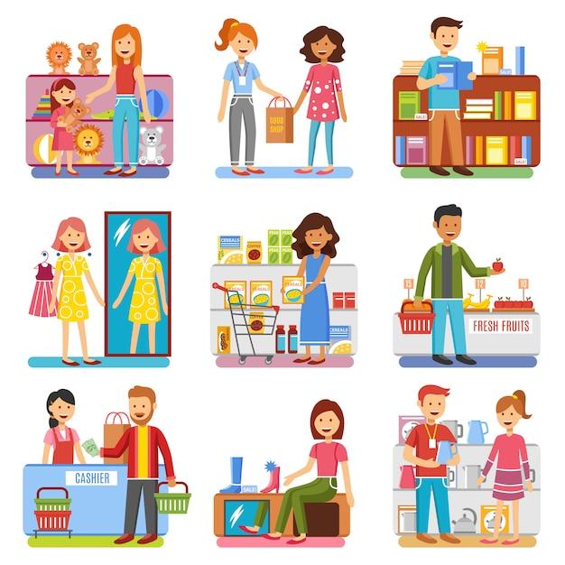 Familie winkelen concept platte pictogrammen collectie Gratis Vector