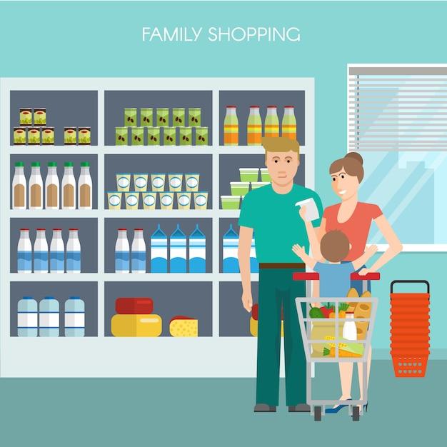Familie winkelen ontwerp Gratis Vector