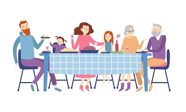 Familie zit aan eettafel. mensen eten feestelijk eten, vakantie praten en familie diner reünie illustratie Premium Vector