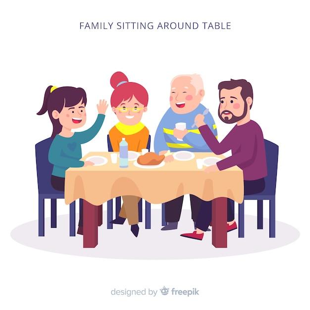 Familie zit rond de tafel Gratis Vector