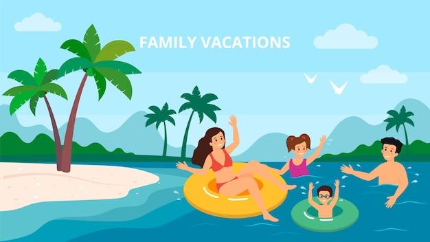 Familie zwemmen vakantie zee kust zomervakantie ouders met twee kinderen vector illustratie. Premium Vector