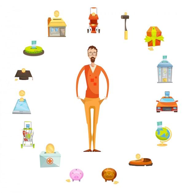 Familiebegrotingssamenstelling van mannelijk karakter van volledige lengte met lege die zakken door waardevol th worden omringd Gratis Vector