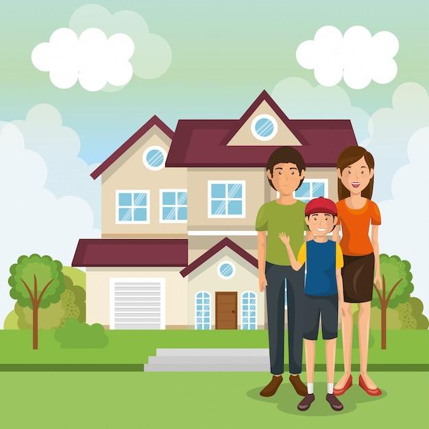 Familieleden buiten het huis Gratis Vector