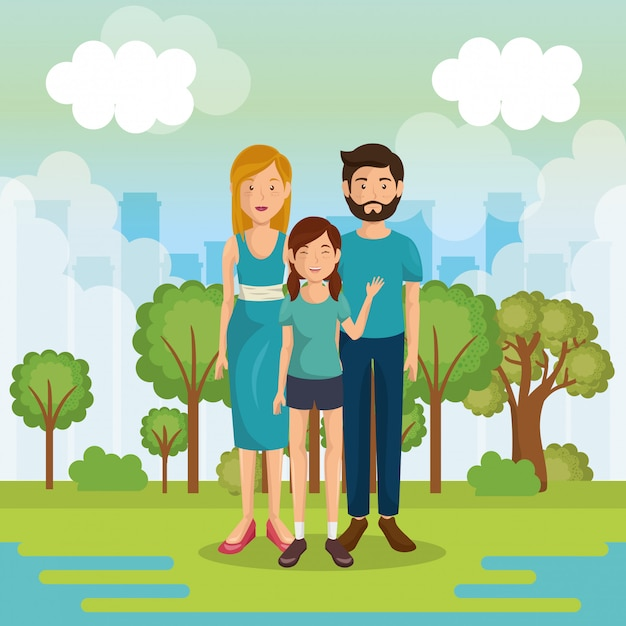Familieleden buiten in landschap Gratis Vector