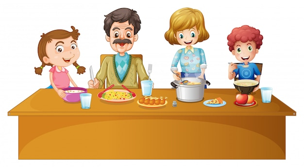 Familieleden die aan de tafel eten Gratis Vector