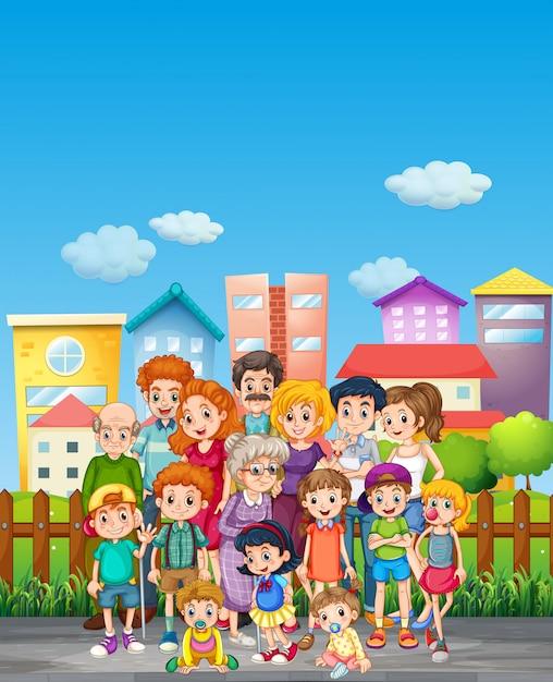 Familieleden die zich op straat bevinden Gratis Vector