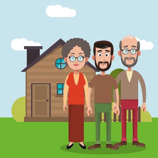 Familieleden huis afbeelding Premium Vector
