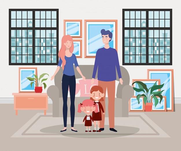 Familieleden in de scène van het huis van de woonkamer Gratis Vector