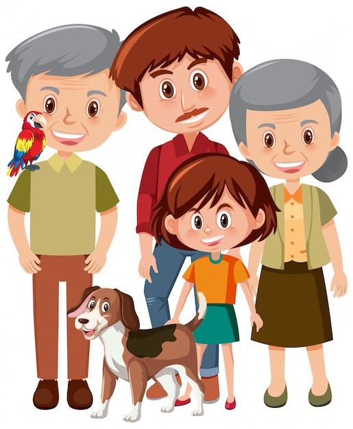Familieleden met grootouders en kind Premium Vector