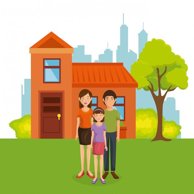 Familieleden weg van huis Gratis Vector