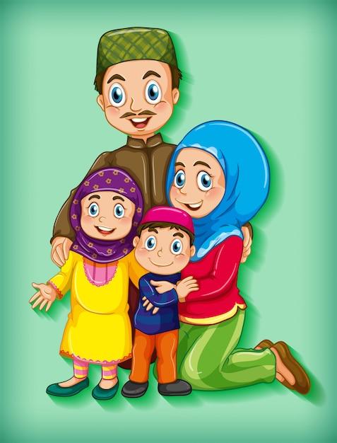 Familielid op cartoon karakter kleurverloop achtergrond Gratis Vector