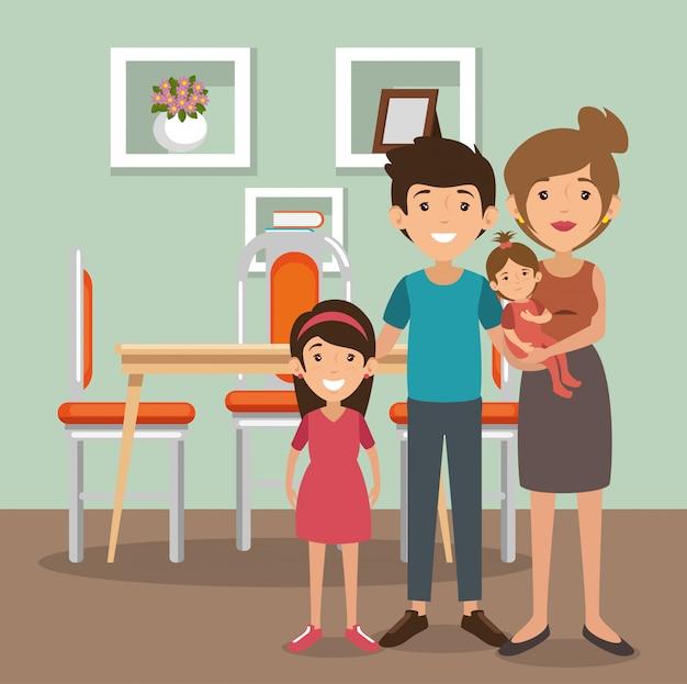 Familieouders in de scène van de eetkamer Gratis Vector