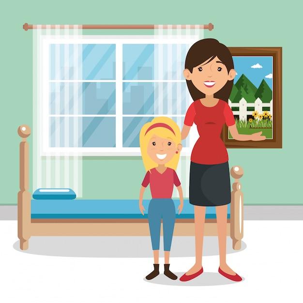 Familieouders in slaapkamer scene Gratis Vector