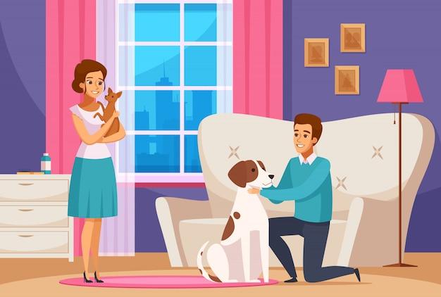 Familiepaar met huisdieren thuis Gratis Vector