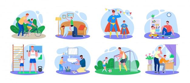 Familietijd, vader en zoon illustratie, stripfiguren gelukkig man ouder met kind hebben samen plezier pictogrammen geïsoleerd op wit Premium Vector