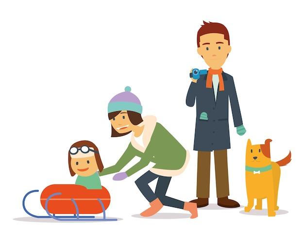 Familievakantie in de winter speelski met hond Premium Vector