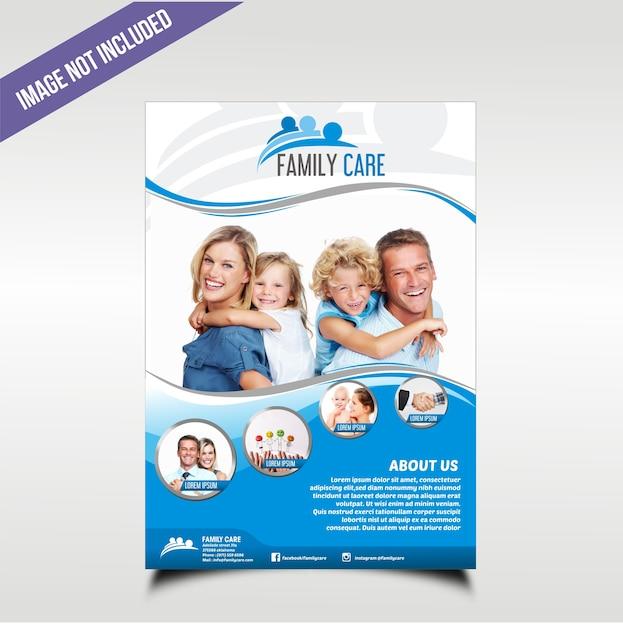 Familiezorg bedrijfsbrochure met blauw golfthema Premium Vector