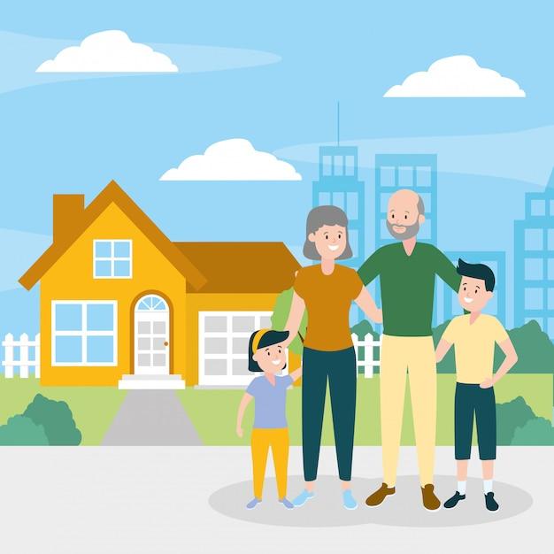 Familiy day buitenshuis Gratis Vector