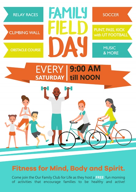 Family fitness-sjabloon Gratis Vector