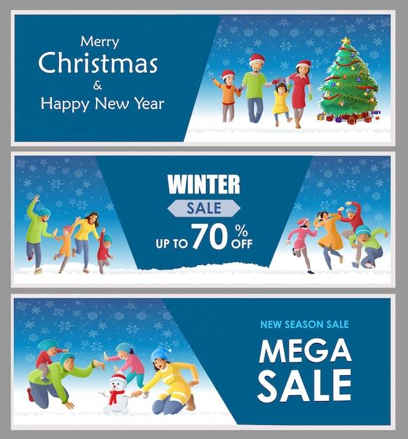 Famly die kerstmis op de winterachtergrond verzamelt en viert Premium Vector