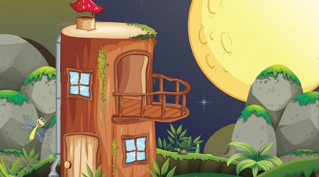 Fanatsy huis nachtscène Gratis Vector