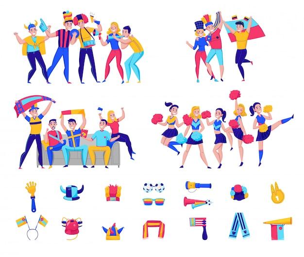 Fans juichen teampictogram set met groepen mensen en voetbal attributen juichen voor de teamillustratie Gratis Vector