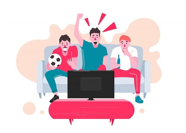 Fans kijken naar de live uitzending van de wedstrijd op tv en juichen hun team toe. illustratie in Premium Vector