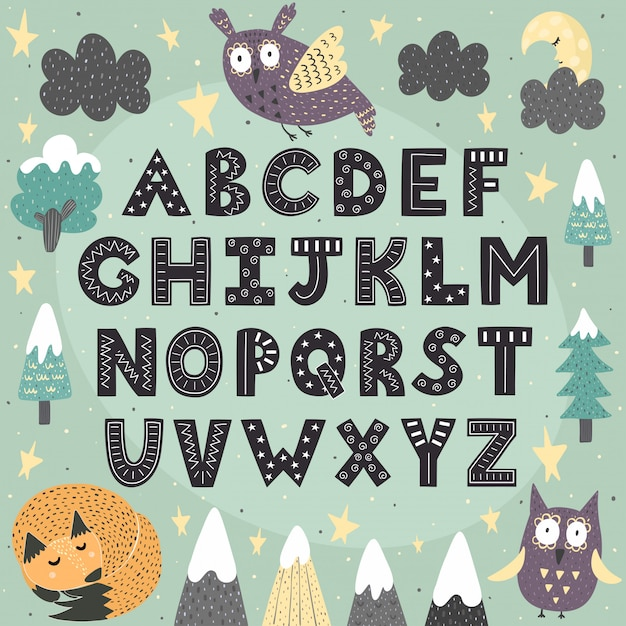 Fantasie bosalfabet voor kinderen. geweldige poster van abc Premium Vector